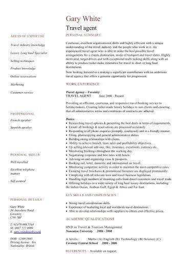 SAP CV template sample - Dayjob travel agent CV template - Dayjob