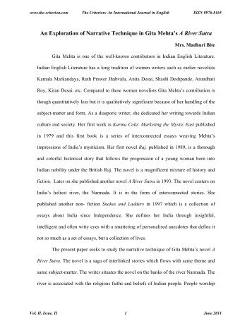 An Exploration of Narrative Technique in Gita Mehta's A River Sutra