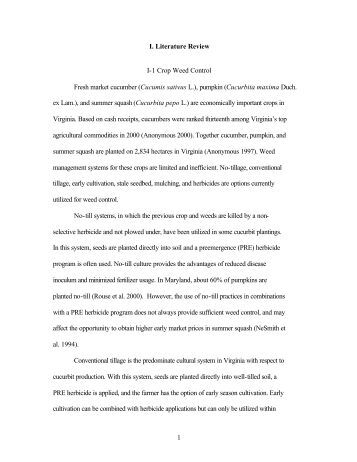 1 I. Literature Review I-1 Crop Weed Control Fresh market cucumber ...