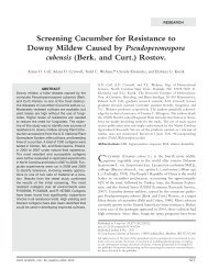 Screening Cucumber for Resistance to Downy Mildew Caused by ...