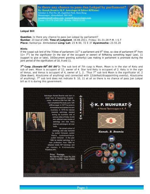 Lokpal Bill - Kanak Bosmia - A KP Astrologer