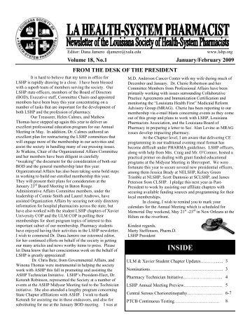 January/February 2009 - Louisiana Society of Health-System ...