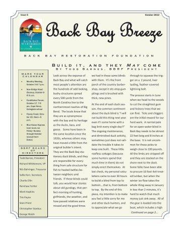 B u i l d i t , a n d t h e y May c o m e - Back Bay Restoration Foundation
