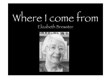 Where i come from elizabeth brewster essay