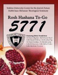 YESHIVA UNIVERSITY • ROSH HASHANA TO-GO ... - YUTorah.org