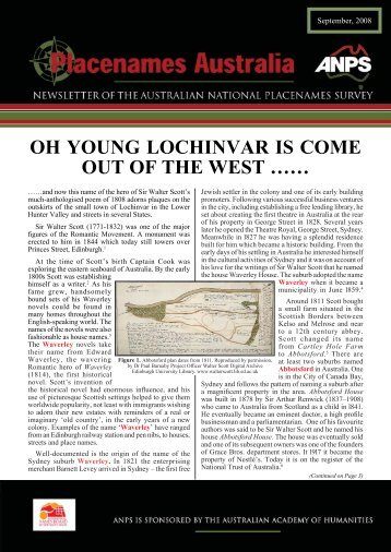 OH YOUNG LOCHINVAR IS COME OUT OF THE WEST …… - ANPS