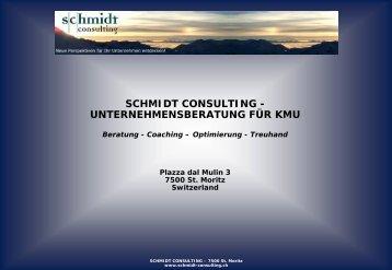 SCHMIDT CONSULTING - UNTERNEHMENSBERATUNG FÜR KMU