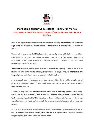 Stars come out for Comic Relief – Funny for Money