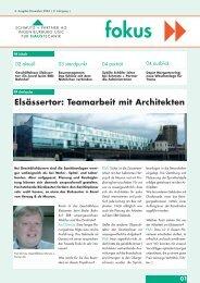 Elsässertor: Teamarbeit mit Architekten - Schmutz und Partner AG