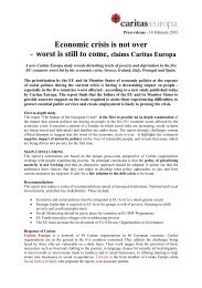 Economic crisis is not over - worst is still to come ... - Caritas-Europa