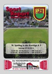 Sport Report - 18. Spieltag der Kreisliga A2 - Sonntag, 07.04.13