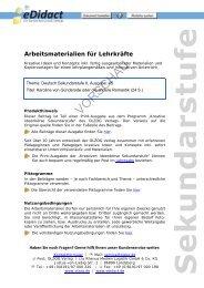 Arbeitsmaterialien Sekundarstufe - Karoline von ... - bei eDidact