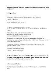 Informationen zur Hochzeit von Karoline & Matthias und der Taufe ...