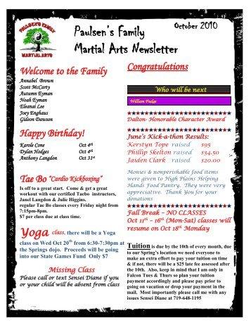 october 2010 newsletter - Paulsen's Family Martial Arts