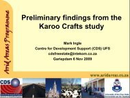 Preliminary findings from the Karoo Crafts study