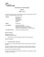 Vancouver Civic Theatres Board Minutes - April ... - City of Vancouver