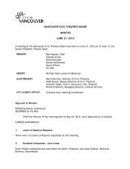 Vancouver Civic Theatres Board Minutes - June ... - City of Vancouver