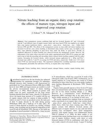 Nitrate leaching from an organic dairy crop rotation: the effects of ...