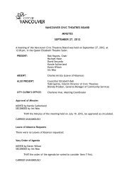 Minutes - Vancouver Civic Theatres Board: 2012 ... - City of Vancouver