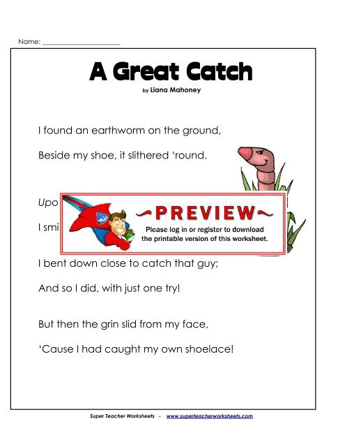 A Great Catch - Super Teacher Worksheets