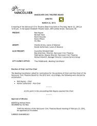 Vancouver Civic Theatres Board Minutes 2012 ... - City of Vancouver