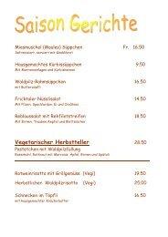 Hauptgang nach Wahl Fr. 38.00 - Hotel Engel Frick