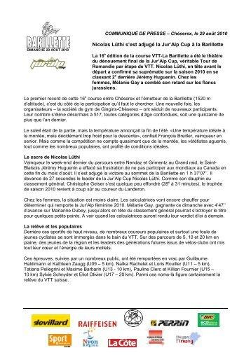 Nicolas Lüthi s'est adjugé la Jur'Alp Cup à la Barillette - ACCV