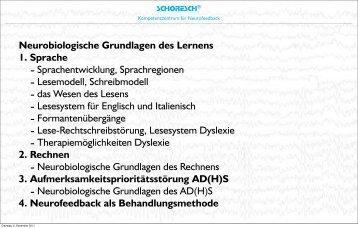 Neurobiologische Grundlagen des Lernens 1 ... - SCHORESCH
