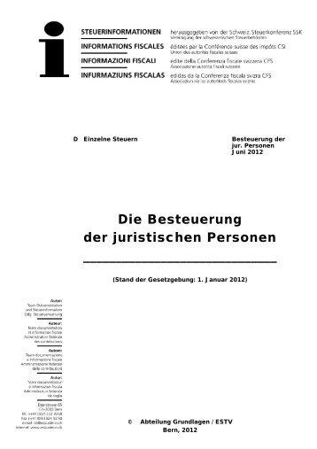 Die Besteuerung der juristischen Personen - Eidgenössische ...