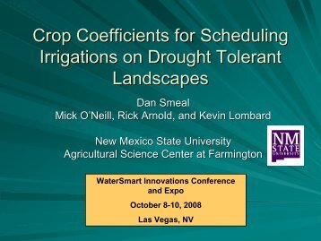 Crop Coefficients for Scheduling Irrigations on Drought Tolerant ...