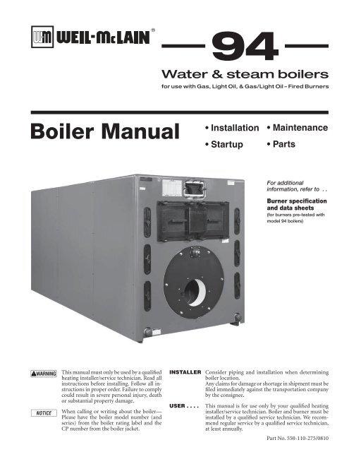 Model 94 Boiler Manual - Weil-McLain on