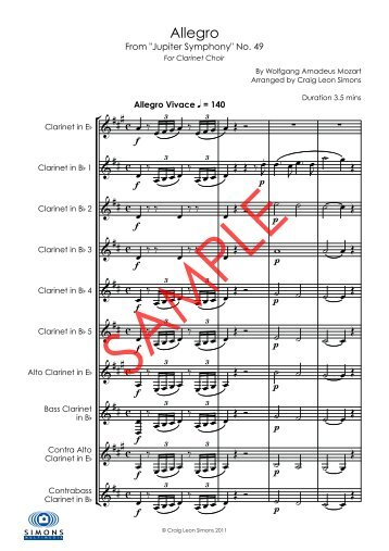 Allegro fom Jupiter Symphony No. 49 - Clarinet Choir - Simons ...