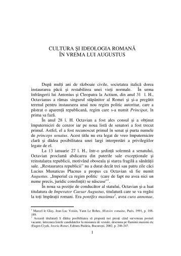 cultura şi ideologia romană în vrema lui augustus - Didactic