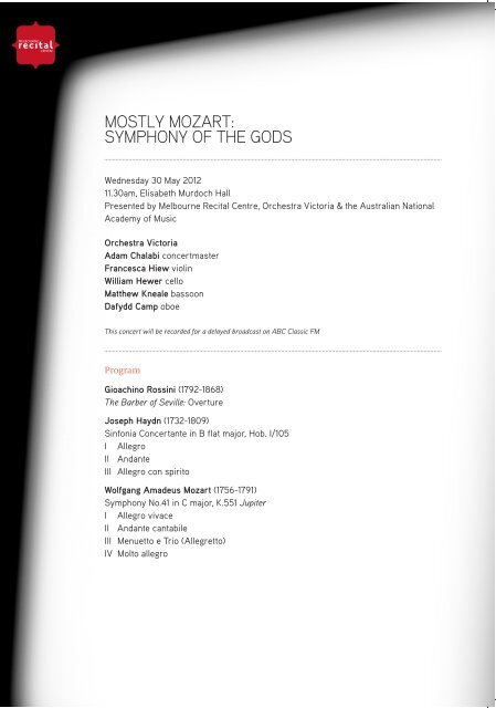 to download the Program Notes  - Melbourne Recital Centre