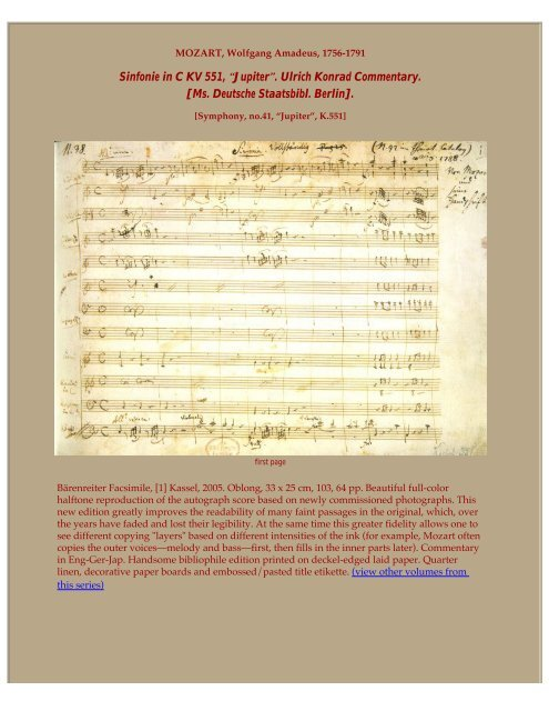 Symphony No 41 in C K 551 - OMI's Home Page - Specialists in