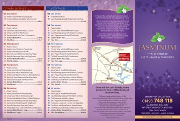 Takeaway Menu - Jasminum Thai Restaurant