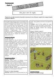 Des jeux vers le rugby - fiche d'exercices