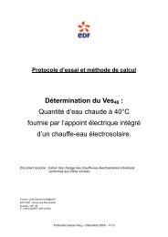Protocole d'essai et méthode de calcul Ves40 - Les énergies ...
