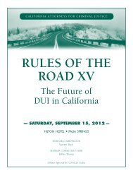 RULES OF THE ROAD XV - California Attorneys for Criminal Justice