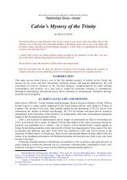 Calvin's Mystery of the Trinity - New Creation Teaching Ministry