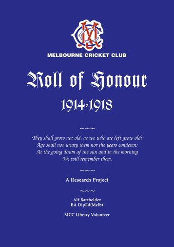 MCC Roll of Honour 1914-18 - Melbourne Cricket Club