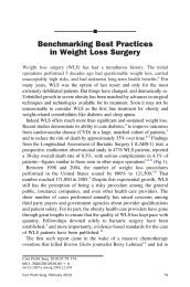 Benchmarking Best Practices in Weight Loss Surgery - SASSiT