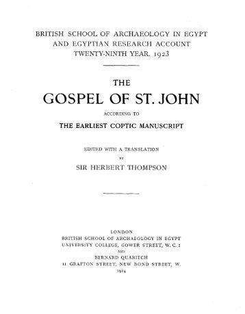 GOSPEL OF ST. JOHN - The Coptic Orthodox Church