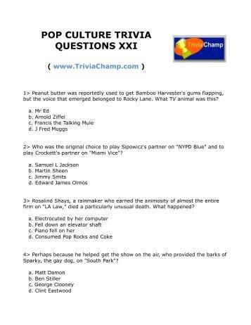 Free pop music trivia questions