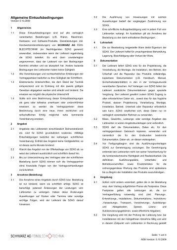 Allgemeine Einkaufsbedingungen - Schwarz AG