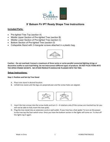Balsam Fir IPT Ready Shape Tree Instructions - QVC.com