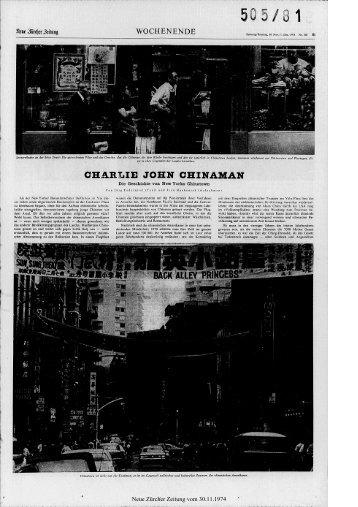 CHARLIE JOHN CHINAMAN - Neue Zürcher Zeitung