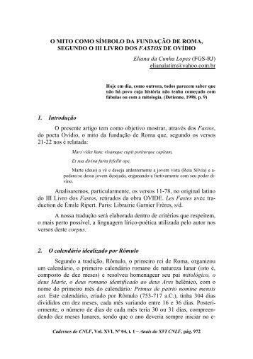 86. o mito como símbolo da fundação de roma, segundo o iii livro ...