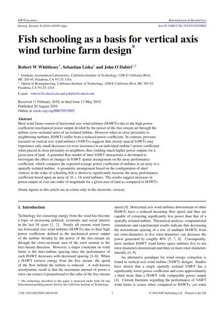 Fish schooling as a basis for vertical axis wind turbine farm
