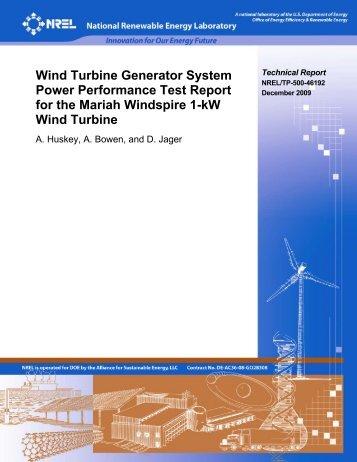 Wind Turbine Generator System Power Performance Test ... - NREL